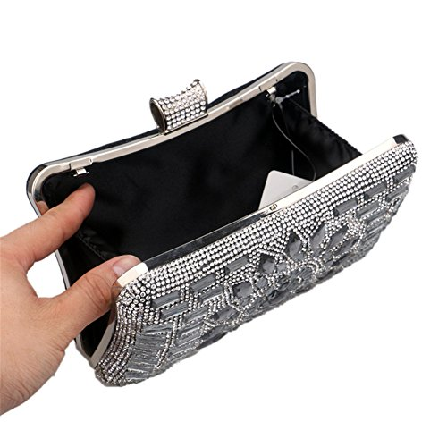Shoulder Black Orfila Clutch Evening Chain Women Party Out Dress Bags Handbag Diamond Wedding rrx7SOz