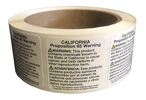 CA Prop 65 Warning Labels 500 Adhesive Stickers (Pdu Core)