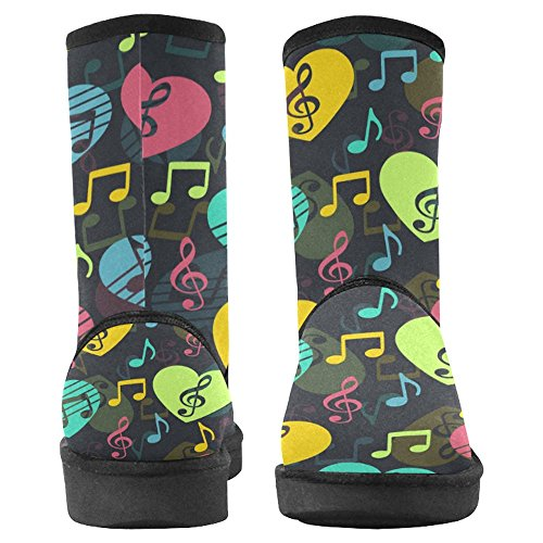 For Treble Designed 1 Comfort Music Love Unique Multi Musical Boots Winter Notes and InterestPrint Womens Boots Snow Clef HUWwF1zp1