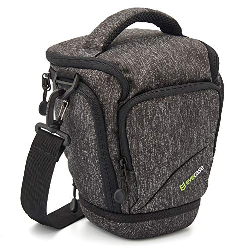 Evecase Top Loaded Digital SLR/DSLR Camera Shoulder Bag with Rain Cover and Eva Bottom Perfect for Long Lens Camera
