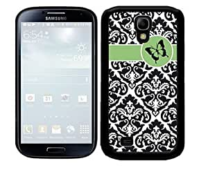 Black and White Floral Damask Pattern with Green Stripe and Circle Black Butterfly 2-Piece Dual Layer High Impact Black Silicone Cell Phone Case Cover Samsung Galaxy S4 I9500