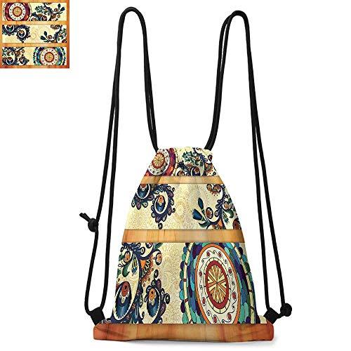 Batik Made of polyester fabric Oriental Vintage Paisley Batik Pattern with Eastern Motifs in Flat Boho Art Design Waterproof drawstring backpack W13.4 x L8.3 Inch Multicolor