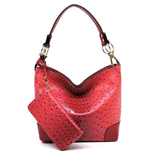 Croco Handbag Hobo (Vegan faux leather bucket shoulder handbag with detachable cross body shoulder strap (OC-coral))