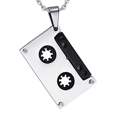 BESTOYARD Collar colgante de cinta de cassette de música de acero titanio collar hip hop para hombres y mujeres: Amazon.es: Joyería