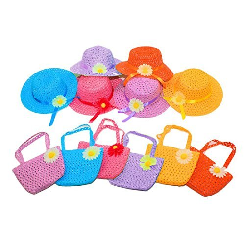 I 6Pcs Daisy Flower Straw Sun Hat Cap Purse Handbag Set for Kids Girls Beach Garden Tea Party ()