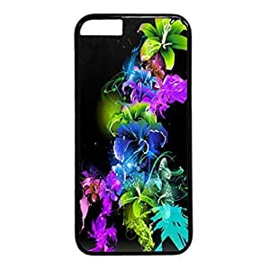 Abstract Design Black PC Case for Iphone 6 Beautiful Flowers