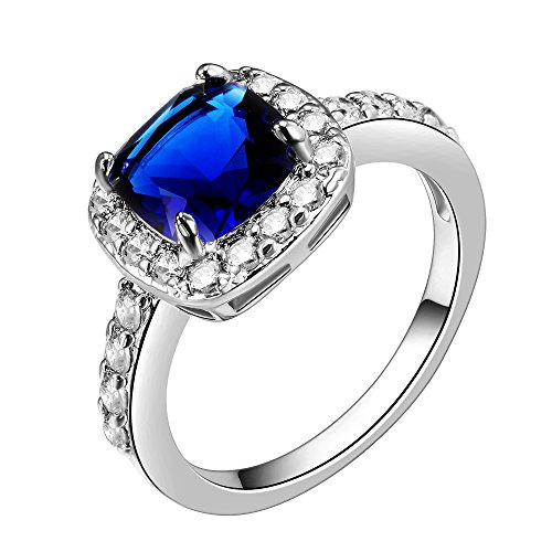 Jewelry Cubic Sapphire Zirconia (Impression Collection Square Sapphire Rings Wedding Party Statement CZ Cocktails Gold Plated Classic Fashion Size 5-10 (Blue, 5))