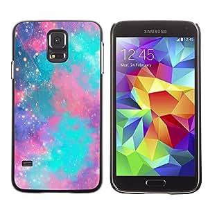 Caucho caso de Shell duro de la cubierta de accesorios de protección BY RAYDREAMMM - Samsung Galaxy S5 SM-G900 - Stars Universe Teal Purple