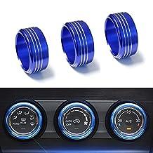 iJDMTOY 3pcs Blue Anodized Aluminum AC Climate Control Knob Ring Covers For Subaru WRX, STI, Impreza, Legacy, Forester, XV, Outback, etc