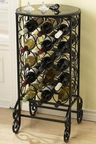 Scroll Iron Glass Top Wine Tbl 33''h Black