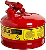 Justrite 7125100 2 1/2 gal Red Galvanized Steel Type I Safety Can With 3 1/2'' Stainless Steel Flame Arrester And Self-Closing Lid (For Flammable Liquids), 15.34 fl. oz., 11.5'' x 1'' x 11.75''