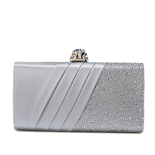 Migubal Sparkling Beads Flannel Evening Clutch Crystal Evening Purse Bag For Bride Wedding Banquet Party( Silver (Sparkling Silver)