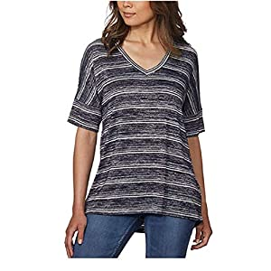 Best Epic Trends 51TTZ8QLwrL._SS300_ Calvin Klein Jeans Women's V-Neck Stripe Short Sleeve Tee Knitted T-Shirt