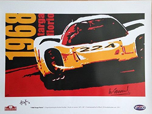 Nicolas Hunziker Porsche 907 - Targa Florio 1968 Art Poster Autographed By Vic Elford and the Artist