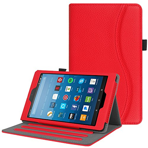 Fintie Case for All-New Amazon Fire HD 8 Tablet (7th Generation, 2017 Release) - [Multi-Angle Viewing] Folio Stand Cover with Pocket Auto Wake/Sleep, Red