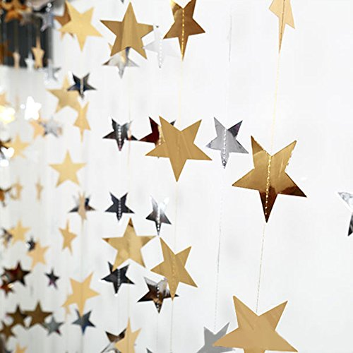 Lacheln Star Party Decorations Birthday Baby Shower Christmas Hanging Paper Garland (Glossy Silver+Gold,26 Feet) ()