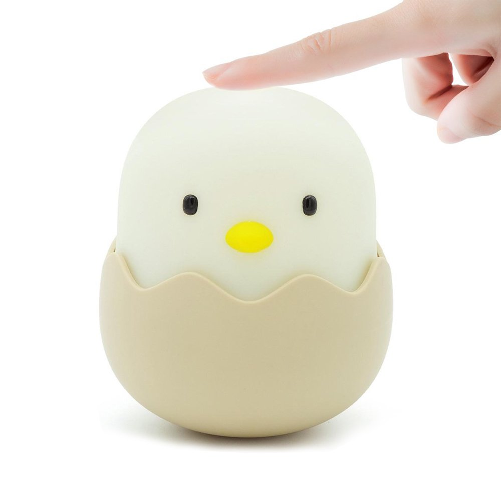 Expert-led night light led night lights Eggshell Chick switch baby kids night light for kids silicone touch switch control USB kids girls night light (White Chick)