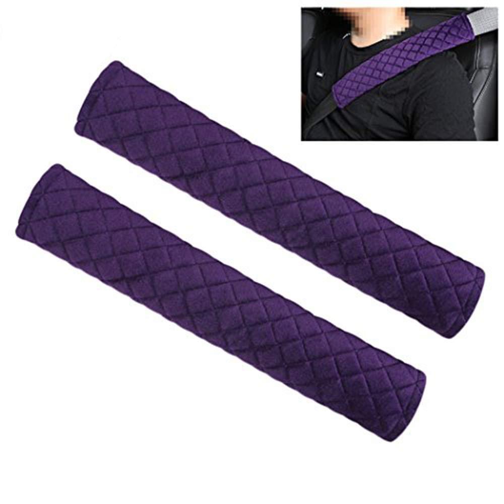 MLOVESIE 2 Packs Car Seat Belt Pads Plush Soft Seatbelt Cover Cushion Shoulder Strap Protector,30cm Red