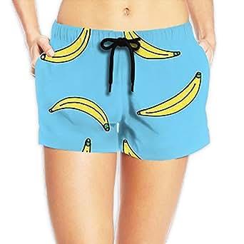Women's Shorts Banana Casual Sport Waistband Swimsuit Mesh Swimming Summer Board Shorts