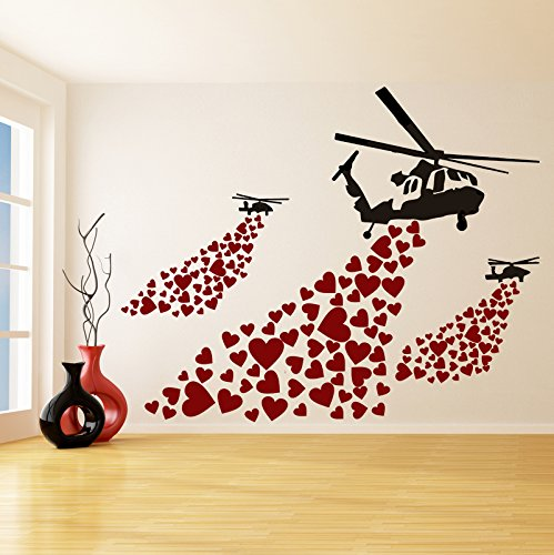 (47'' x 37'') Banksy Vinyl Wall Decal Helicopter with Hearts / Street Art Graffiti Helicopters Decor Sticker / Heart Love Mural + Free Random Decal Gift