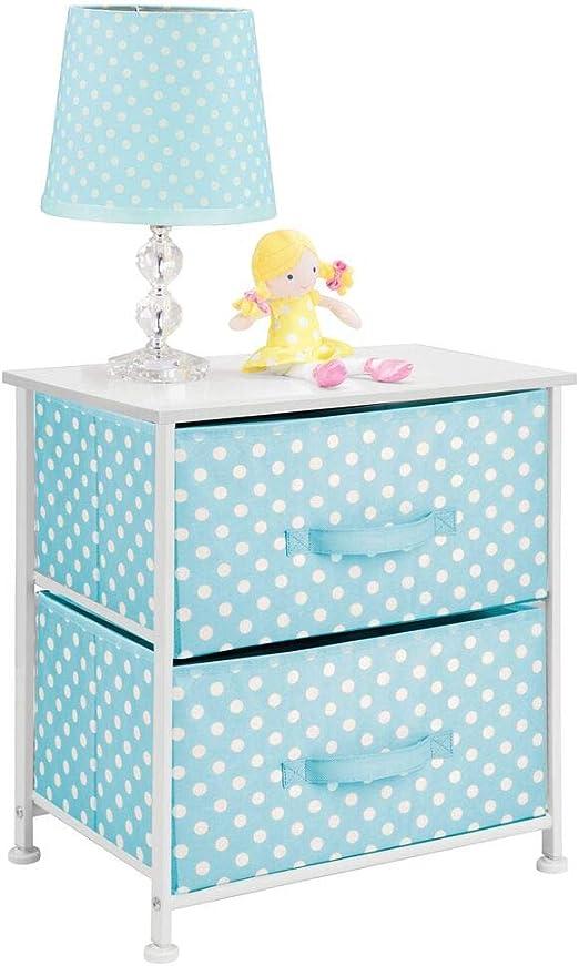 mDesign Mesa de luz infantil con 2 cajones – Organizador de ...