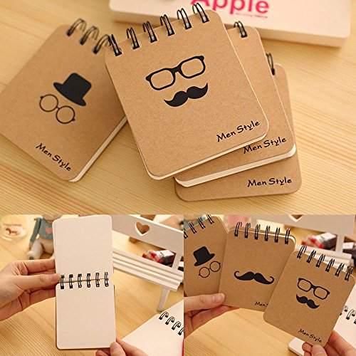 4 pcs Portable Mini Notepad Memo Notebook Mr Moustache Series Note Pads Stationery