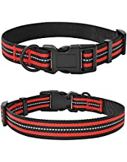 Mile High Life Night Reflective Double Bands Nylon Dog Collar (3 Sizes 4 Colors Multi-Pack Available)