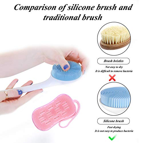 Reente Back Scrubber,2 Pack Body Brush Exfoliator Body Brush Silicone Bath Body Brush Shower Loofah Massage Brush Mini Exfoliator Brush Back Brush Long Handle for Shower Women Man Thighs and Butt