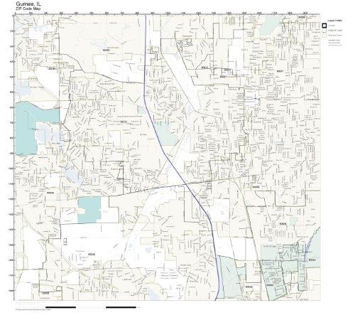 ZIP Code Wall Map of Gurnee, IL ZIP Code Map Laminated (City Of Gurnee Il)