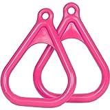 Swing Set Stuff Plastic Trapeze Rings with SSS Logo Sticker, Pink