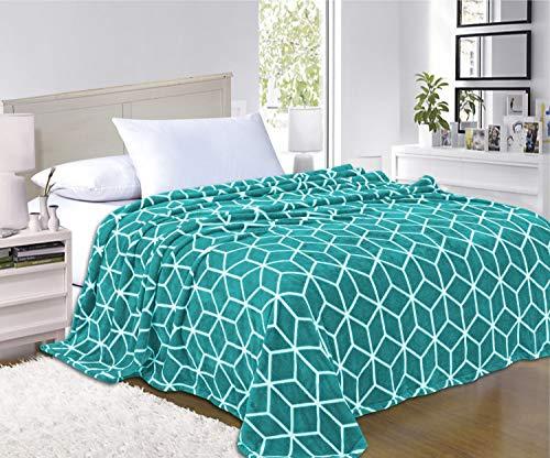 (Elegant Comfort  Luxury Velvety-Soft Coral Flannel Blanket Micro-Velour Ultra-Softness Fuzzy Plush, 100% Hypoallergenic, King/California King, Teal)
