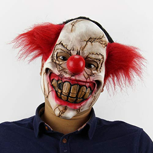 (2018 Scary Halloween Mask,Realistic Clown Halloween Face Masks with Hair for Adults and Man,Halloween Masquerade Cosplay Costume Mask. (Red haired)