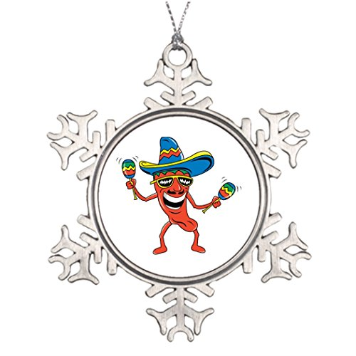 (Just Redo Mexican Chili Pepper Xmas Trees Decorated Personalised Christmas Snowflake)