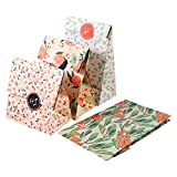24Pcs/Set Gift Bags, 4 Designs Vintage Floral Kraft Gift Paper Bag with Stylish Sticker Seal Cookie Candy Bag for Mother's Day Wedding Birthday Party Mother's Presents Toys 13 x 8 x 23 cm