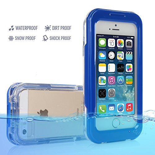 Pasonomi® [20ft] Underwater Waterproof Shockproof Snowproof Dirtpoof Protection Case Cover for iPhone 5 5S 5C 4 4S (Blue)