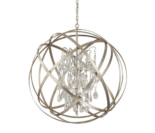 Capital Lighting 4236Wg Cr Axis 6 Light Pendant  Winter Gold Finish With Clear Crystal Accents