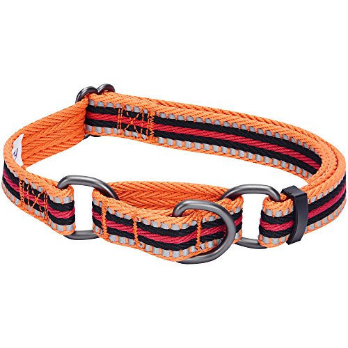 Blueberry Pet 8 Colors 3M Reflective Multi-Colored Stripe Safety Training Martingale Dog Collar, Orange and Black, Medium, Heavy Duty Adjustable Collars for Dogs