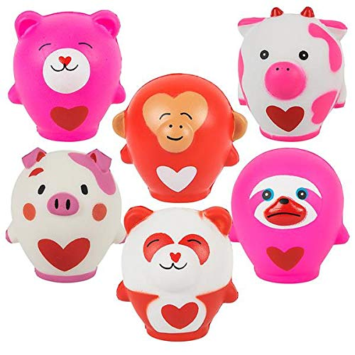 6 Valentine's Day Slow Rise Animals - Heart Love Gift- Scented Sensory, Stress, Fidget Toy - Be My Valentine - Cute Unique Valentines Day Cards for Kids]()