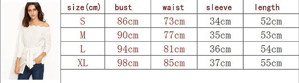 Camisas Mujer Manga Larga Blancas Fiesta Tops Barco Cuello Sin Tirantes Elegante Office Wear Cintur/ón Primavera Oto/ño T-Shirt Blusa con Cremallera Slim Blouse Ropa Moderno B/ásicos Casual