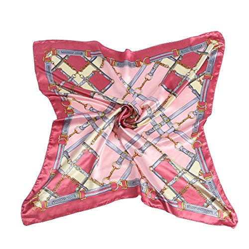 ANSAN Women's Fashion Retro Pattern Large Silk Scarf for Hair Square Satin Print Neckerchief Headscarf Pink (Squares Pattern Retro)