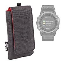 DURAGADGET Jet Black Cushioned SmartWatch Case / Pouch With Red Interior Lining For NEW Garmin Fenix 3 (HR, Leather, Nylon, Titanium) and Garmin Tactix Bravo GPS Smartwatches