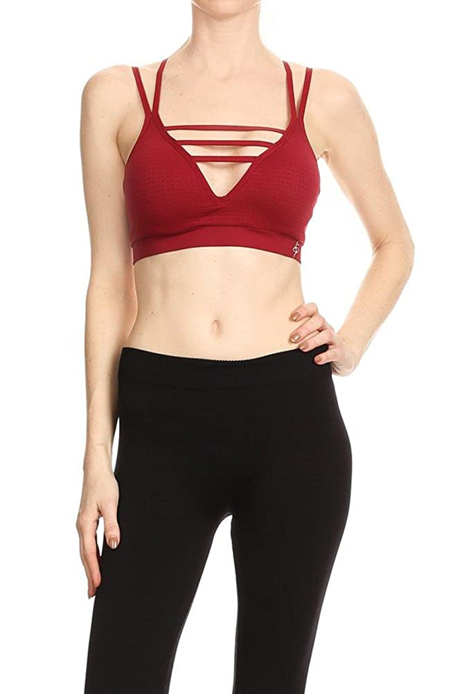 K214burgundy O TO S Women's Yoga Strap Fashion Sports Crop top Medium Support Sports Bra