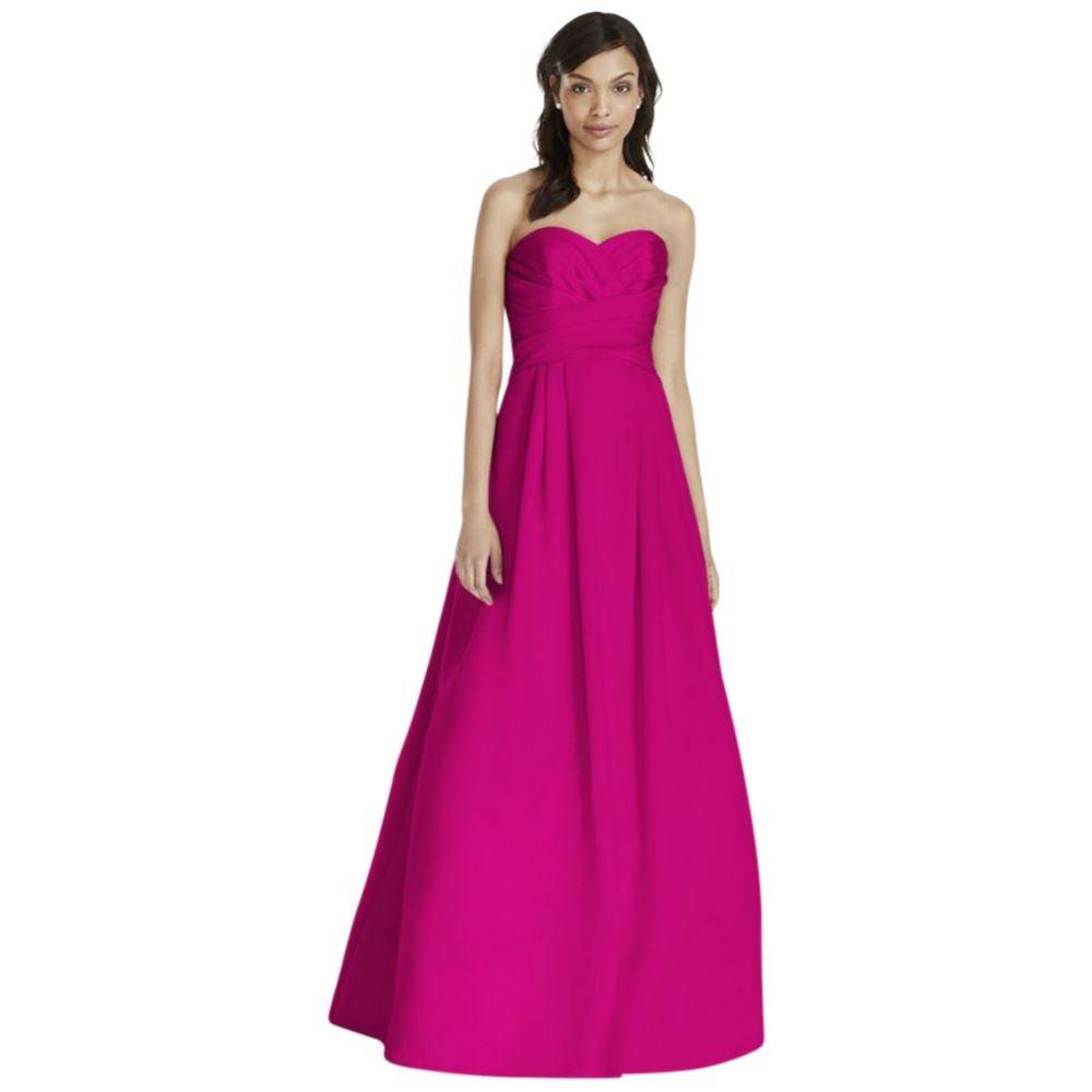 Amazon.com: David\'s Bridal Strapless Satin Pleated Bodice Ball Gown ...