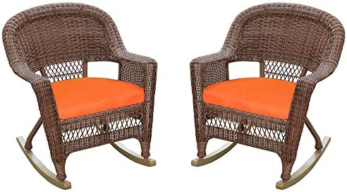 Jeco Rocker Wicker Chair with Orange Cushion, Set of 2, Honey