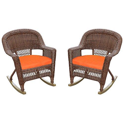 Jeco Rocker Wicker Chair with Orange Cushion, Set of 2, Honey