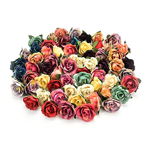 Fake flower heads in Bulk Wholesale for Crafts Mini Silk Rose Head Artificial Flowers Wedding Home Decoration DIY Party Decor Flower Wall Scrapbook Gift Box Craft Flowers 30pcs/lot 3.5cm (Colorful) from Fake flower heads