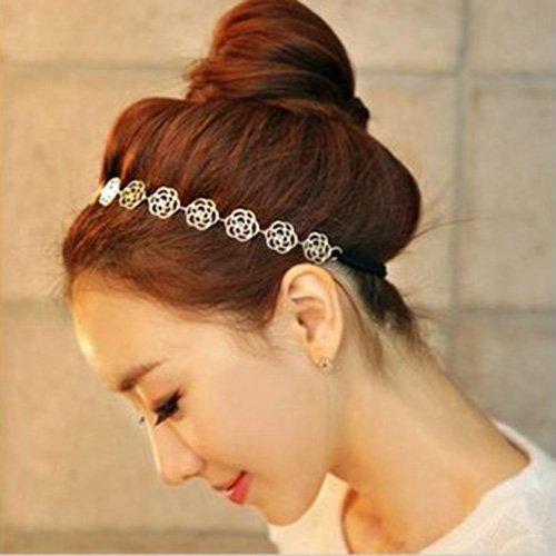 New Fashion Lovely Metallic Sweet Lady Girl Gold Hollow Rose Flower Elastic Hair Band Headband