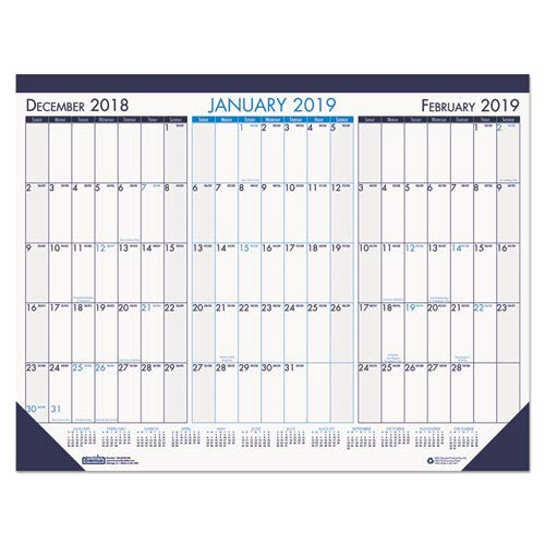 House of Doolittle 2019 Three-Month Desk Pad Calendar, 22 x 17 Inches, Blue, December - January (HOD136-19)