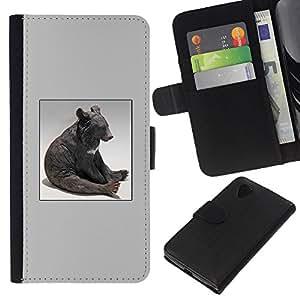 iBinBang / Flip Funda de Cuero Case Cover - Oso Sentado Estatua Modern Art Bosque Animal - LG Nexus 5 D820 D821