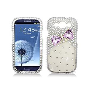 Aimo Wireless 3D Premium Stylish Diamond Bling Case for Samsung Galaxy S3 I9300 - Non-Retail Packaging - Pink Hearts
